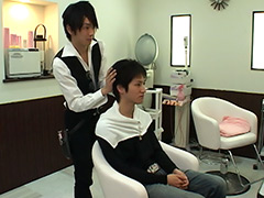 美容室のイケメン店員が客にエッチな接客サービス!!