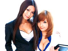 【エロ動画】麗しの美人秘書 紗奈&鈴音りおなのエロ画像