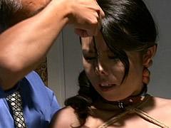 【エロ動画】奴隷秘書 哀犬露出浣腸 坂田美影のエロ画像