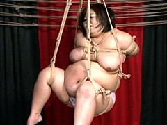 【エロ動画】家畜肥満女 緊縛串刺調教のSM凌辱エロ画像