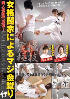 【秋元レオナ動画】女格闘家によるマジ金蹴り-M男