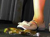 白パンプスで踏み潰されるヒキガエルとアマガエル