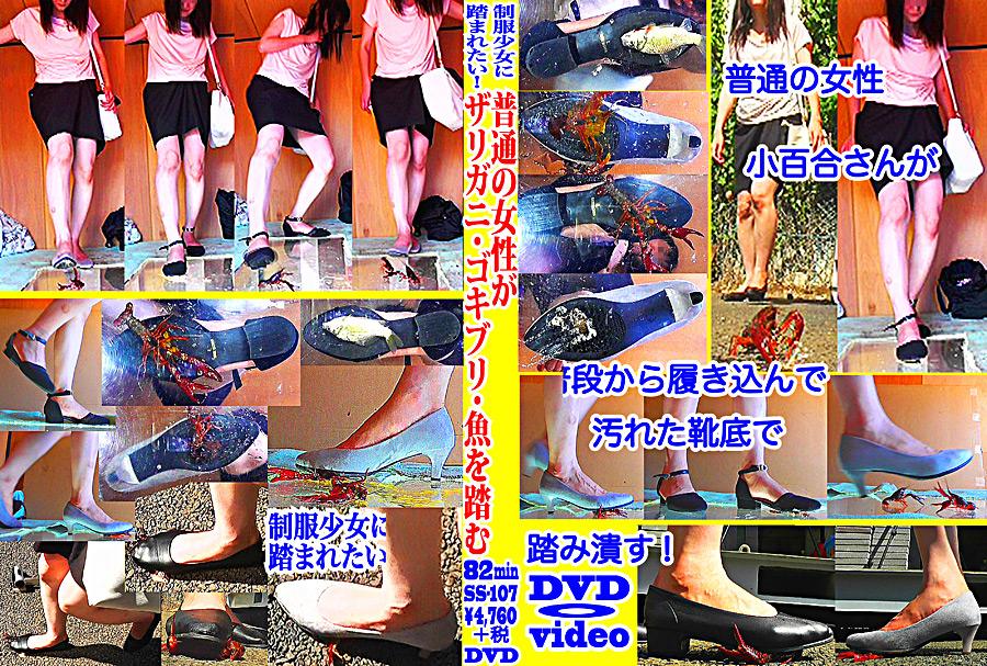 普通の女性・小百合さんがザリガニ・ゴキブリ・魚を踏む パッケージ画像
