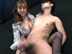 キレイなお姉さんに背後から淫乱手コキされるM男DX2
