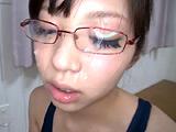 眼鏡妹 スク水フェラチオ顔射 8時間