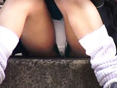 街角視姦 食い込み下着のハミマン娘盗撮