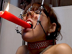 【エロ動画】悲哀蝋燭 顔枷曳き晒 二条華のSM凌辱エロ画像