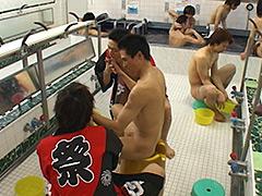 まさに天国!銭湯の大浴場で男2人から淫らなおもてなし!!