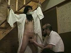 奴隷和服妻 荒縄緊縛天井逆さ吊り