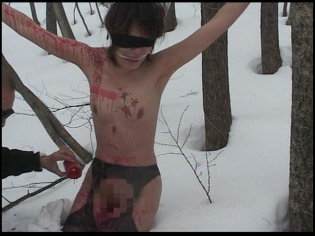 究極マゾ妻肉奴隷 野外雪責め針貫通 画像 4