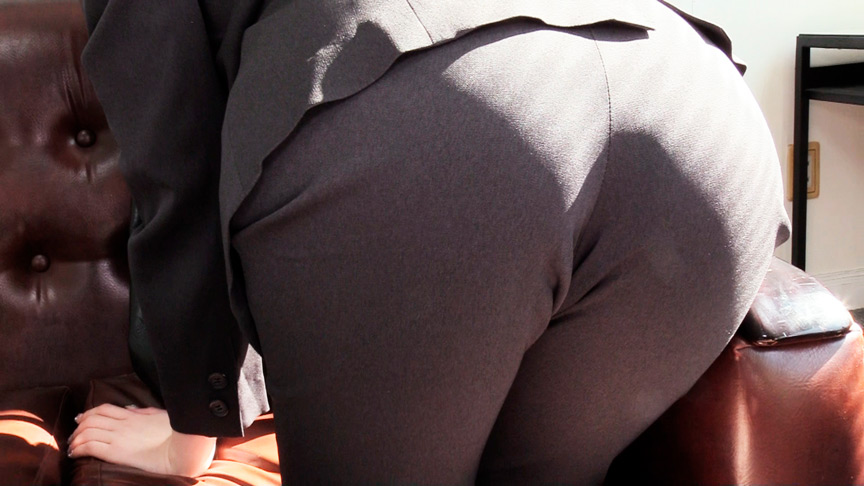 OLパンツスーツで尻ずり
