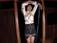 縛り03 菱形手首梁吊るし OL制服