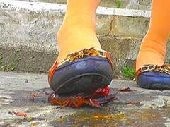 クラッシュ:ウォークングシューズや短靴でザリガニを踏み砕く!