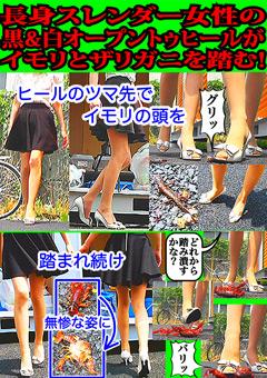 長身スレンダー女性の黒&白オープントゥヒールがイモリとザリガニを踏む!