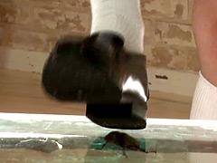 可愛い子がカブト虫の雄雌を笑いながら革靴で踏み潰す