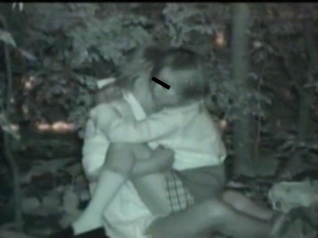 流出!!木々の中で絡み合うカップルの青姦盗撮映像のサンプル画像