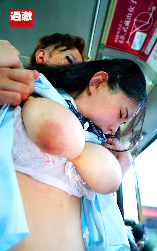 満員バスで背後から制服越しにねっとり乳揉み痴漢され腰をクネらせ感じまくる巨乳女子○生11 6枚目