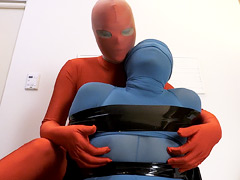 ZENTAI GIRL ENCASEMENT HAND JOB