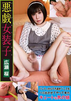 悪戯女装子 広瀬桜 パンティからデカ過ぎペニスをハミ出させてやって来たキュートな男の娘