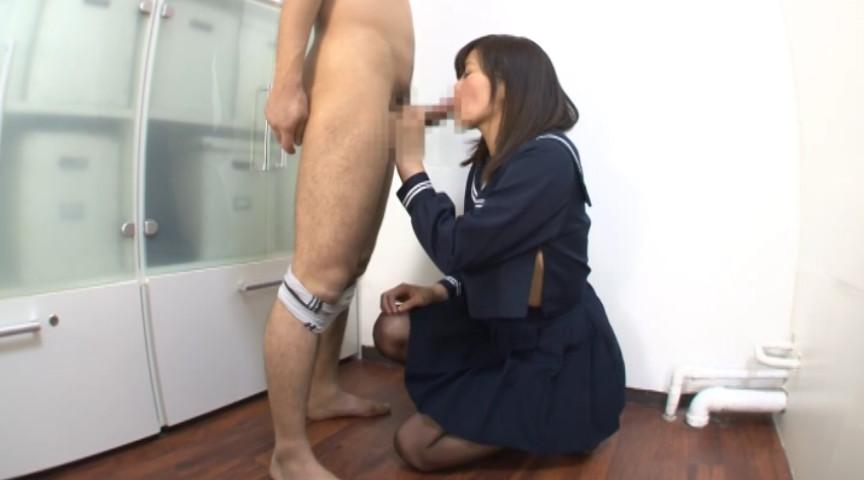 黒ストを穿いた女子校生、淫らに尻コキ 画像 19